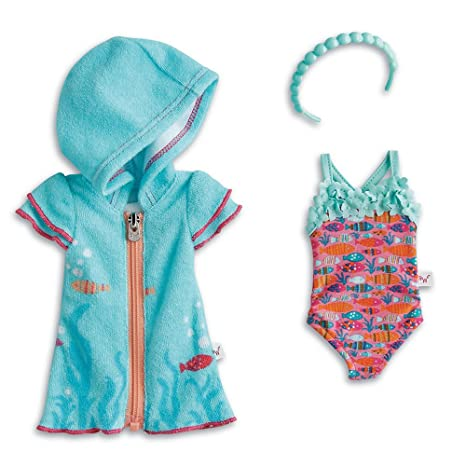 91a1c6bd84 Amazon.com: American Girl WellieWishers Fun Fish Swimsuit & Cover-Up for  Dolls: Toys & Games