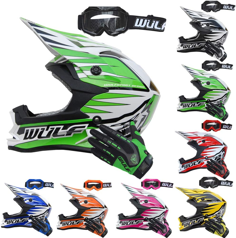 + Wulf Cub Abstract Goggles Wulfsport Kids Advance Motocross Helmet Red XS + Wulfsport Attack Motorbike Gloves Red L