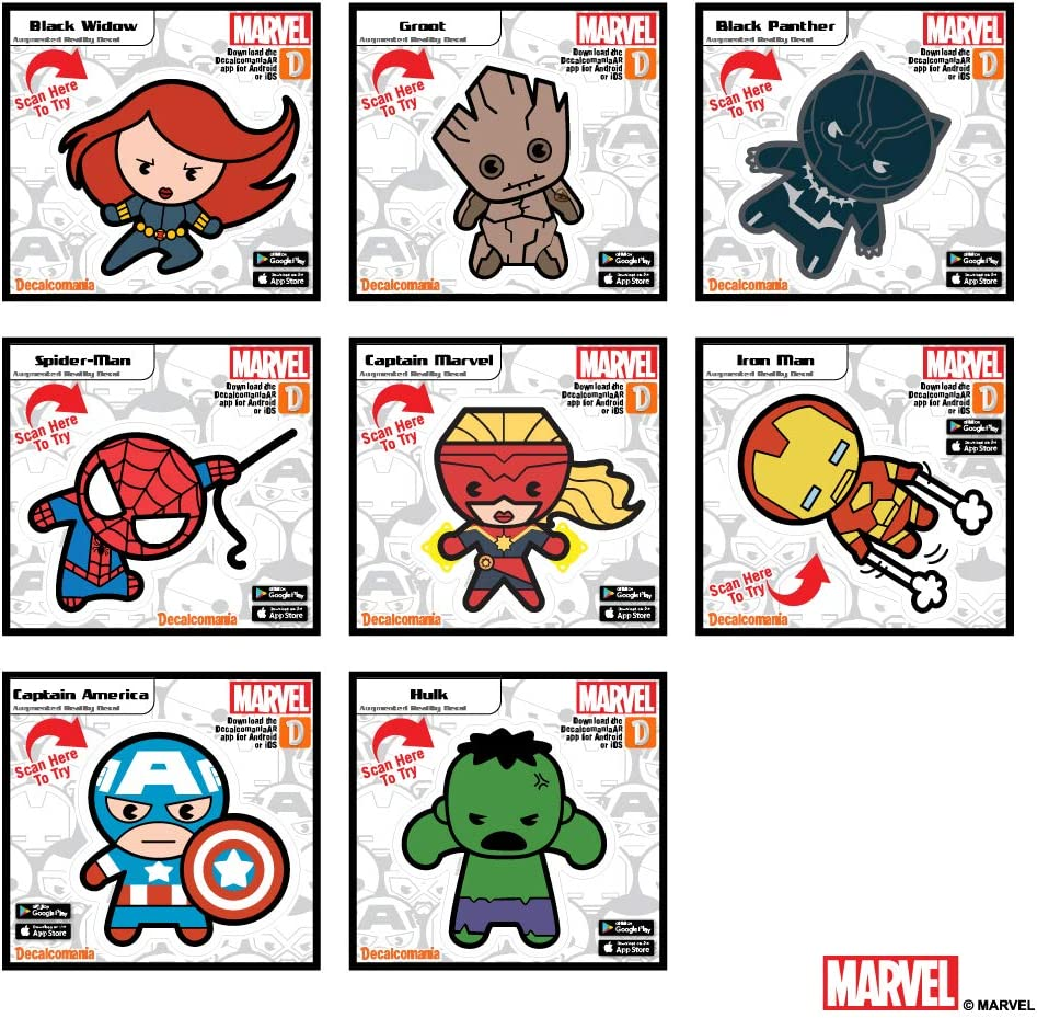 Marvel Avengers Set of 8 Kawaii Augmented Reality Vinyl Decal Bundle Black Widow, Captain America, Spider-Man, Groot, Captain Marvel, Hulk, Black Panther, Iron Man