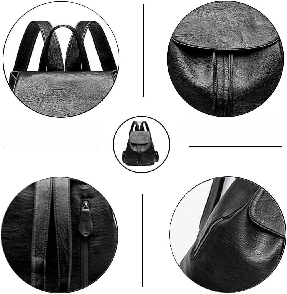 Monitika Femme Sacs port/és dos Mode Cuir Imperm/éable Voyage L/école Loisir Sac a dos Noir