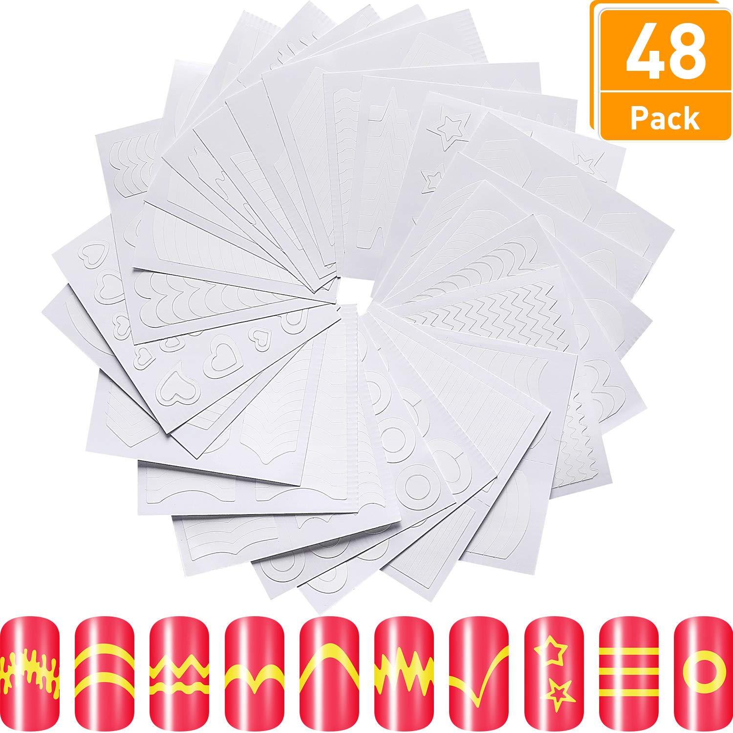 1544 Pieces 34 Design French Manicure Tip Guides White Nail Stickers, Nail Guides for Manicure Decoration DIY Tools, 40 Sheets Blulu