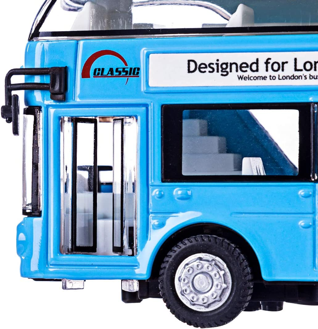 Blue Searchyou London Double Decker Bus Toy Pull Back Car with Light and Sound