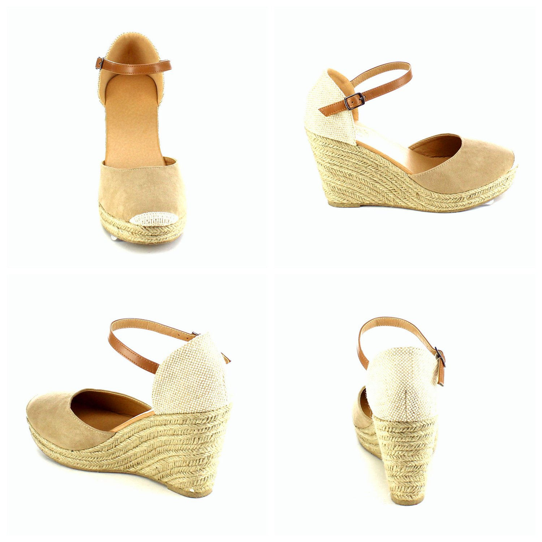 Teresae Womens Wedge Sandals Ankle Strap Cap Toe Espadrille Wedge Sandal B07DWZPS6D 6.5 B(M)US SIZE 37 Khaki