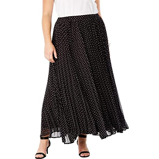 c2ae460f66b Jessica London Women s Plus Size Pleated Maxi Skirt - Black Polka Dot