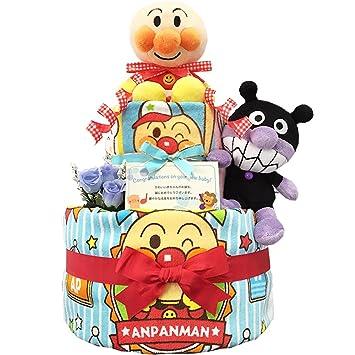 KanonBabys アンパンマンとバイキンマンのおむつケーキ/ダイパーケーキ 2段 (パンパースS20枚