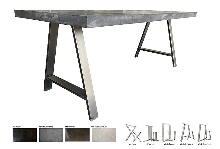 f1d875f00e847 Table béton ciré ultra léger - Pieds acier  Amazon.fr  Handmade