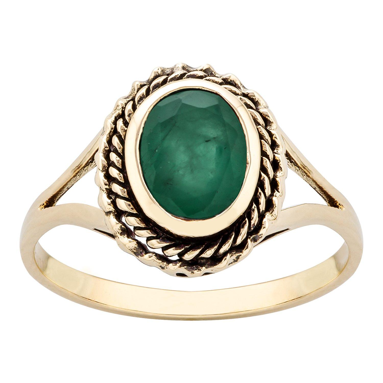 10k Yellow Gold Vintage Style Genuine Oval Emerald Split Shank Ring