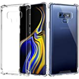 """MoKo Samsung Galaxy Note 9 Case, Crystal Clear Shockproof Case Reinforced Corners TPU Bumper + Anti-scratch Rugged Transparent Panel Cover Fit Samsung Galaxy Note 9 (2018) 6.4"""" - Crystal Clear"""