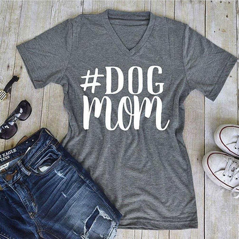 5580c418 Amazon.com: FANTIGO Women's Dog Mom Letter Print V Neck Casual T-Shirt Tops Short  Sleeve Blouse: Clothing