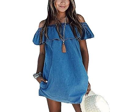 af1b3874196 COOCOl Women Dress New Fashion Loose Slash Neck Jeans Dresses Summer ...