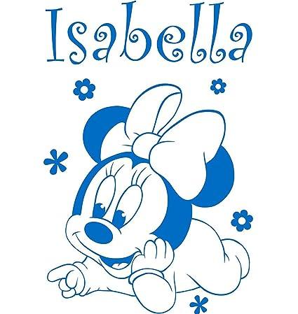 Pegatina De Pared Personalizada Nombre De La Niña Disney Minnie Raton Flores Bebé Muchacha Engomada Arte