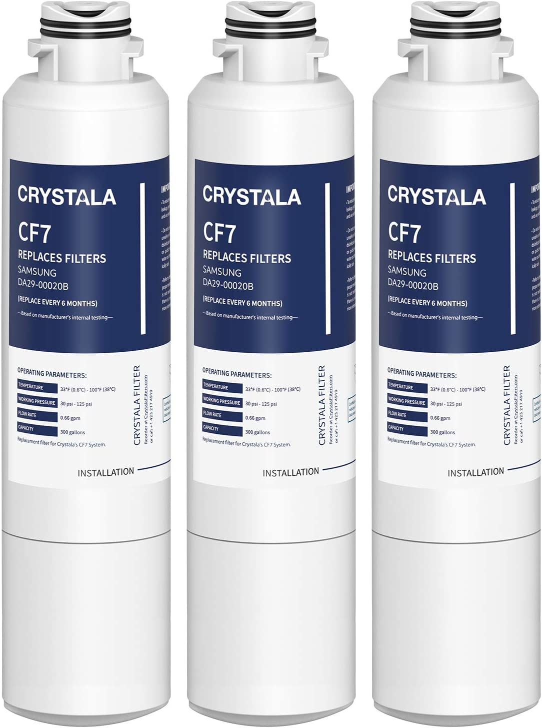 Crystala Filters DA29-00020B Refrigerator Water Filter Replacement for Samsung, CF7 NSF 53&42 Certified Cartridges Compatible with DA29-00020A/B, DA2900020B, HAF-CIN, HAF-CIN/EXP, 46-9101 - 3 Packs