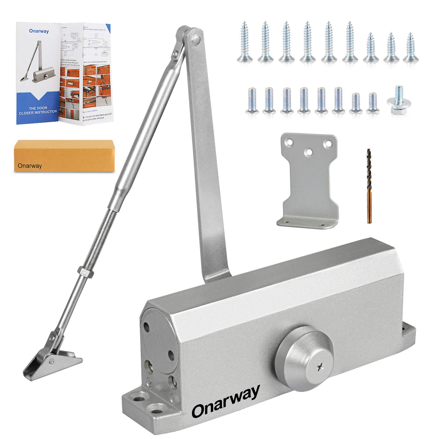 Onarway Adjustable Automatic Size 3 Spring Hydraulic Door Closer//Closure for Commercial or Home Use with Fitting Template for Middle-Weight Door Parallel Bracket Included