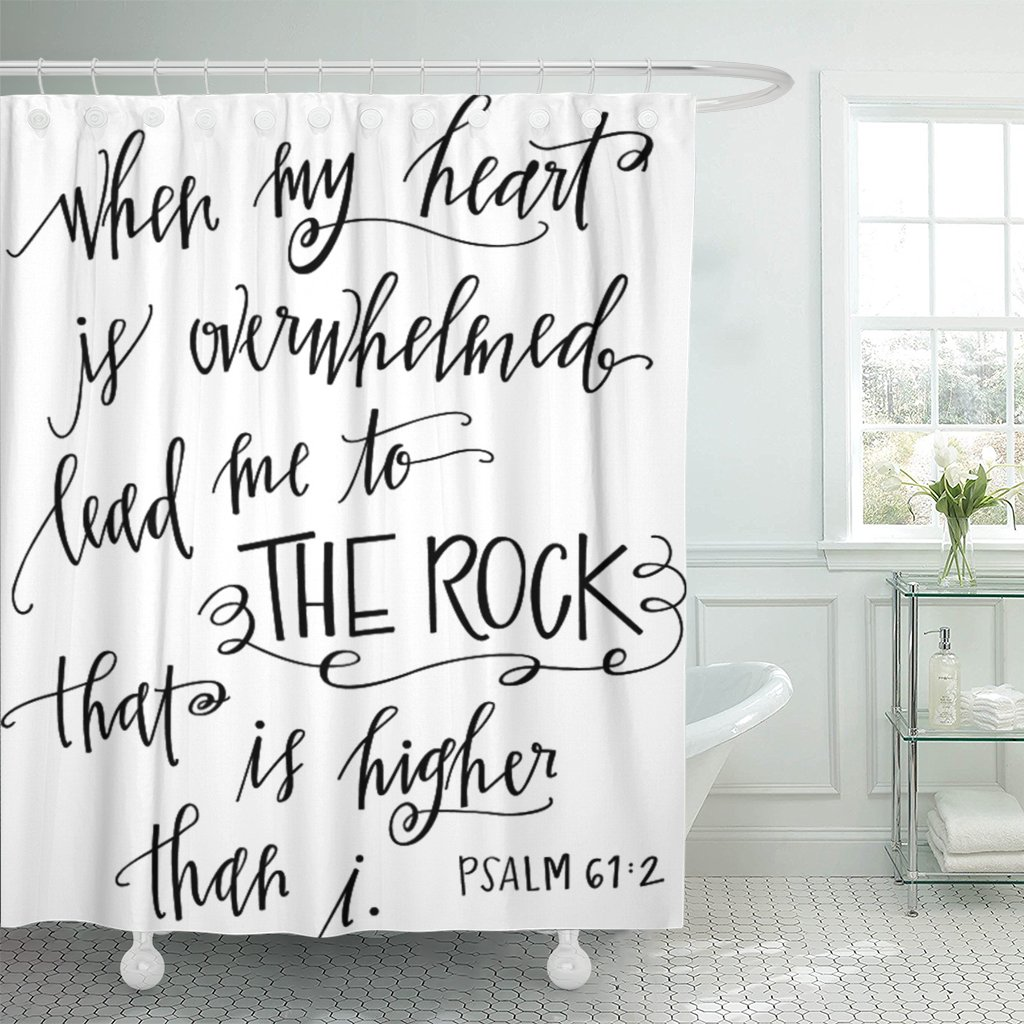 Breezat Shower Curtain Verse My Rock Bible Christian Quote Scripture Waterproof Polyester Fabric 60 x 72 Inches Set with Hooks by Breezat
