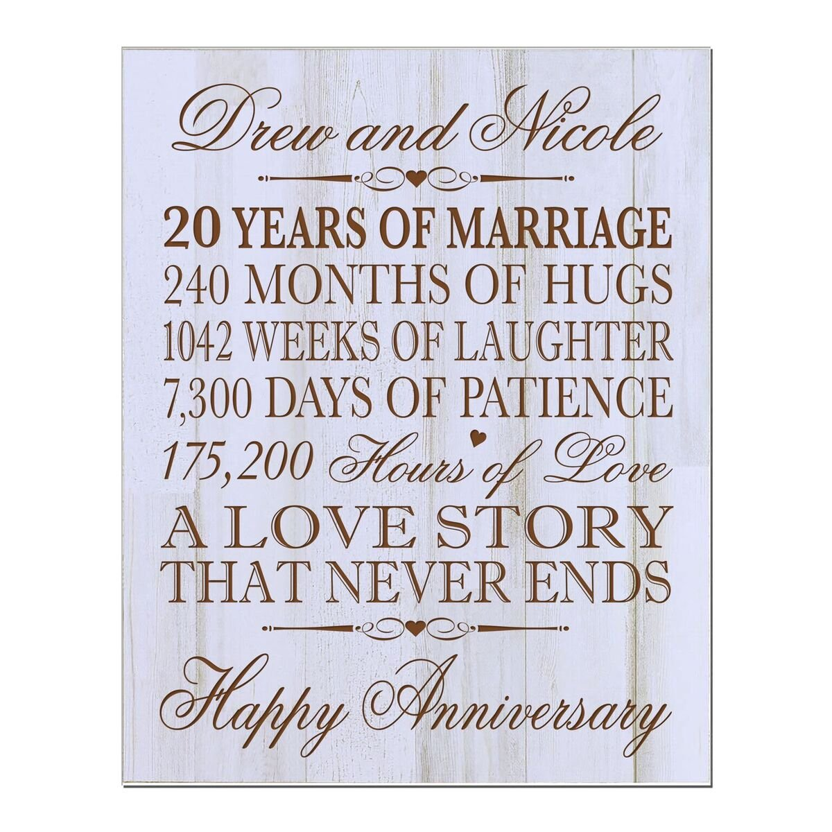 LifeSong Milestones Personalized 20th Wedding Anniversary Wall Plaque Gifts for Couple, Custom 20th for Her, 12 Inches Wide X 15 Inches High Wall Plaque (Distressed White) by LifeSong Milestones