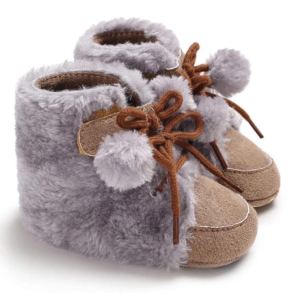 Weiyun Baby Girl Boy Soft Booties Hair Ball Bandage Snow Boots Toddler Warm Shoes