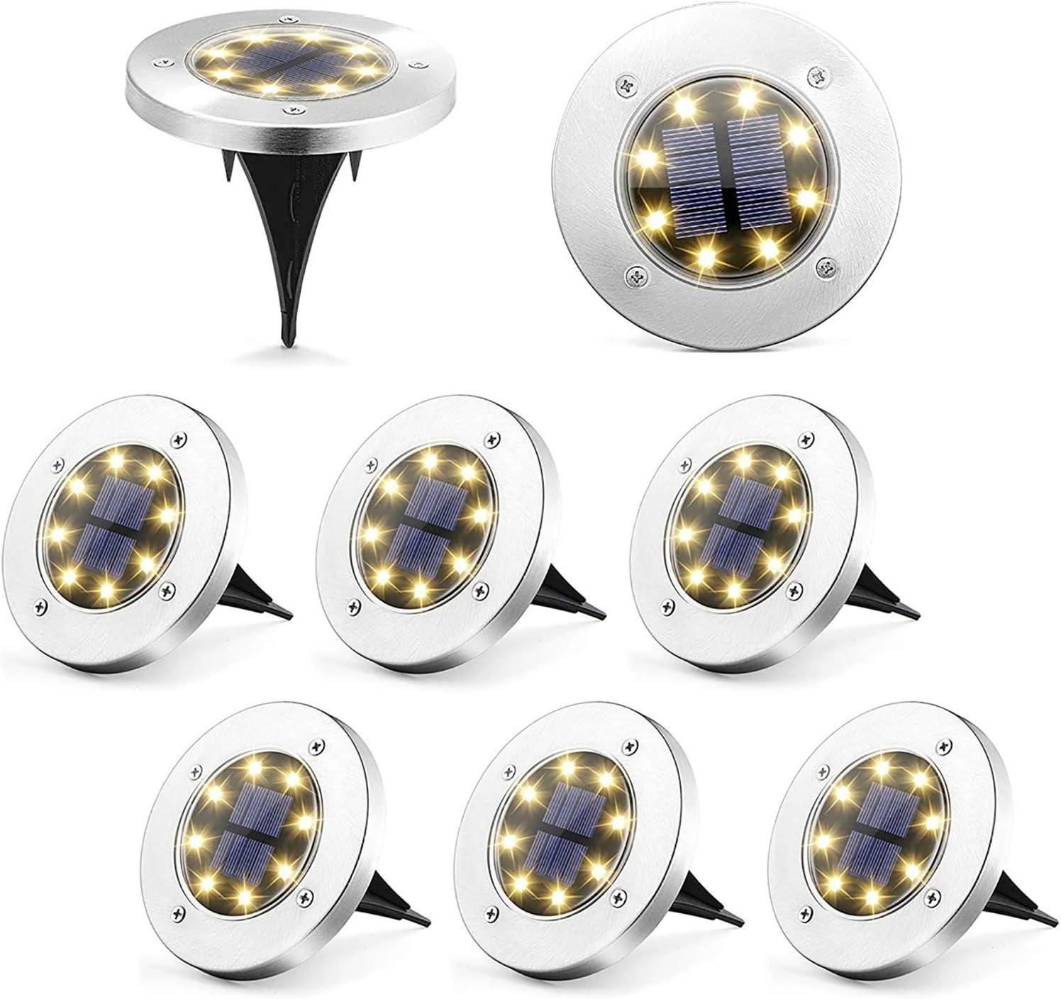 Puncools Solar Ground Light, 8 Packs IP65 Waterproof Outdoor Solar Disk Light, Solar Powered Warm White LEDs Ground Lights for Night Deco &Lighting of Gardens, Yards, Pathways, Walkways