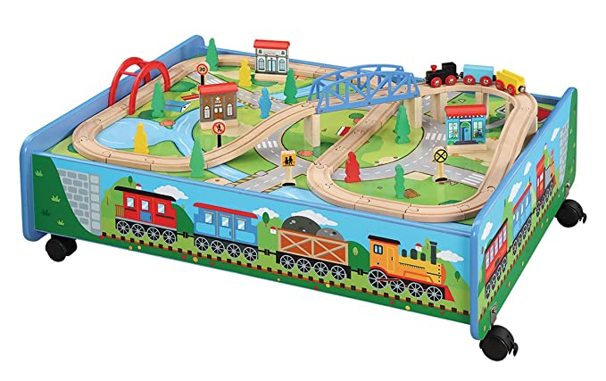 Amazoncom Maxim Wooden Train Set With Play Table 62 Pc Set Over