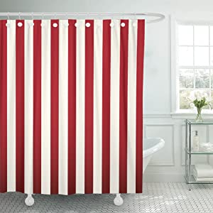 Emvency Shower Curtain Abstract Classic Red and White Stripe Beautiful Color Diagonal Waterproof Polyester Fabric 60 x 72 Inches Set with Hooks