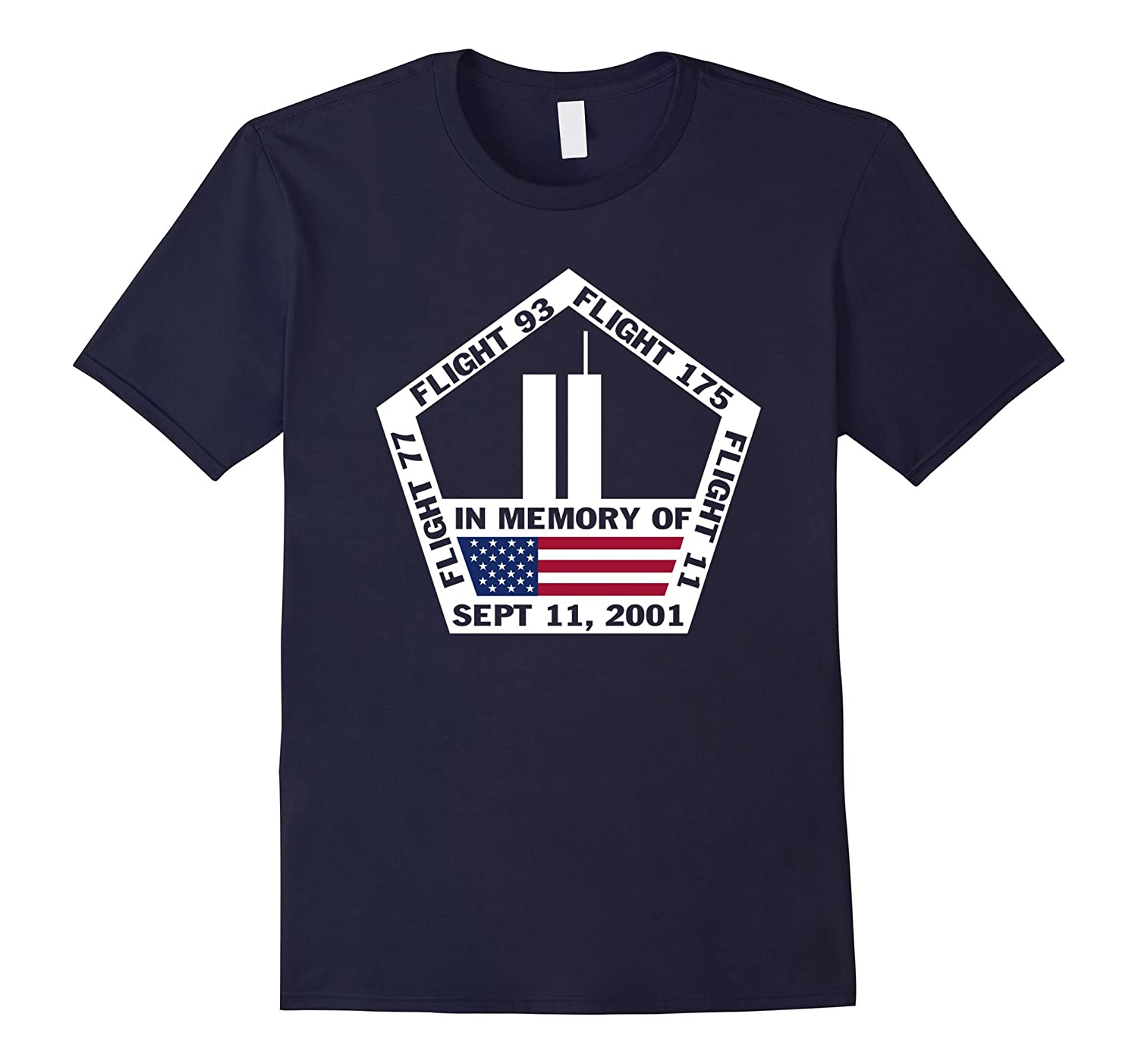 9/11 2001 Memorial We Will Never Forget American Flag Tshirt-BN