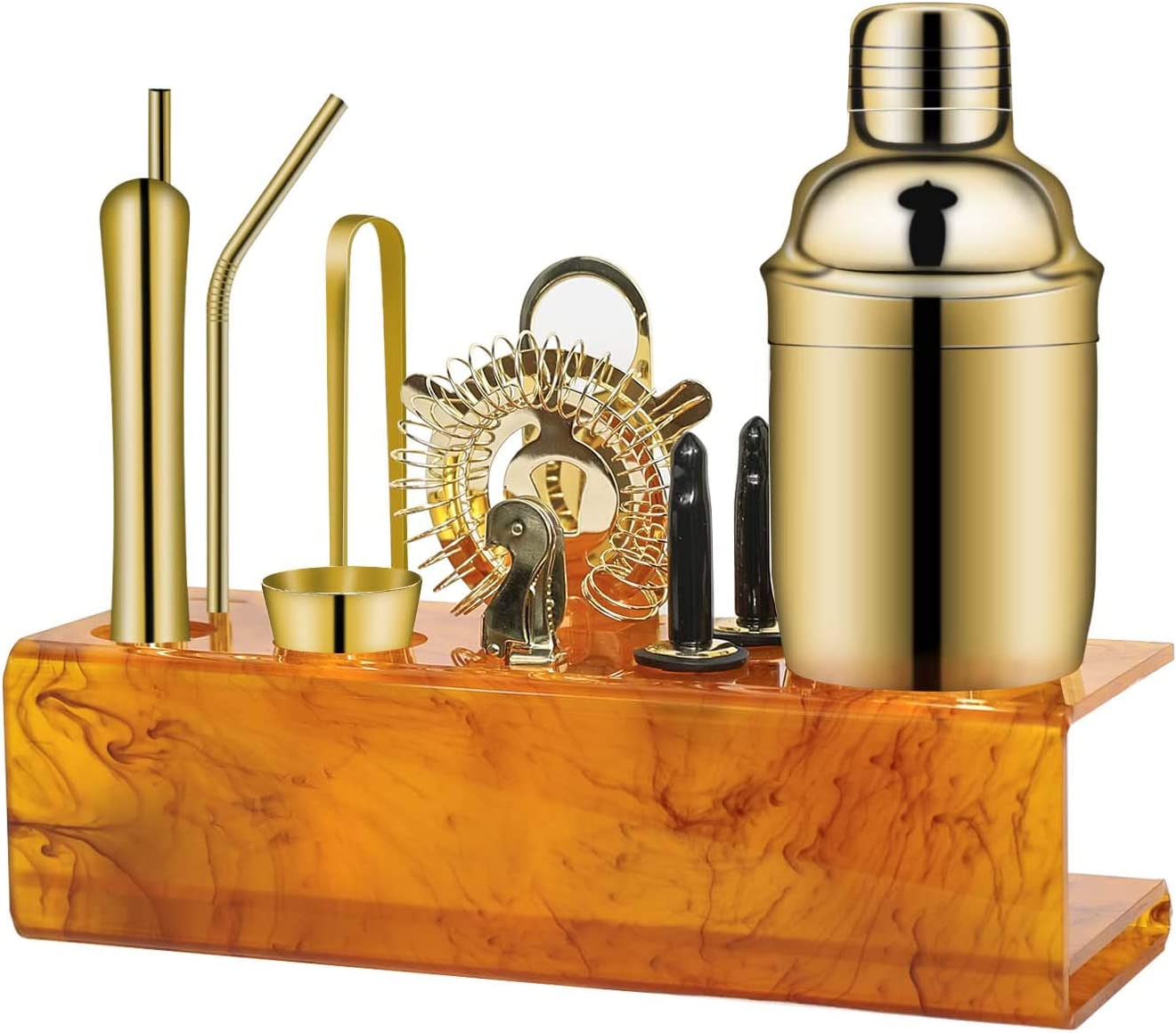 X-cosrack Bartender Kid with Amber Stand Bar set, Martini Shaker for home - gold