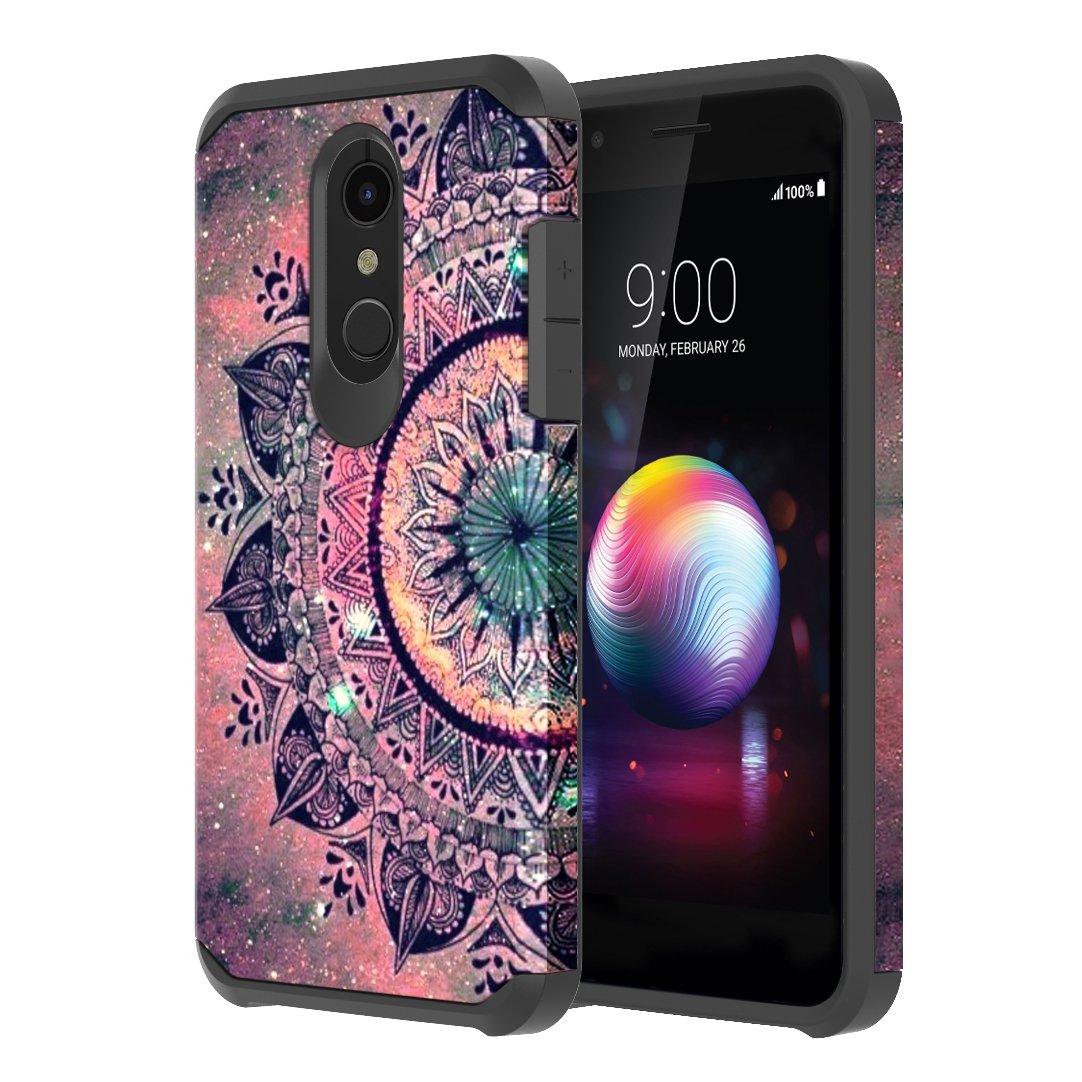 LG K30 Case, LG Premier Pro LTE Case, LG K10 2018 Case, Onyxii Hybrid Dual Layer Slim Graphic Armor Shockproof Impact Resistant Protective Cover Case for LG K 30 (Henna Mandala)