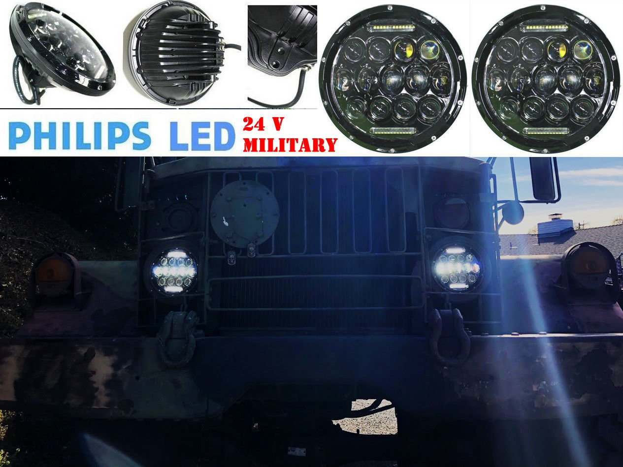 "7"" OZ-USA 75w High Output Military LED Headlight 24 volts M35a2 M35 M35a3 M923 Truck HMMWV M998 DIESEL"