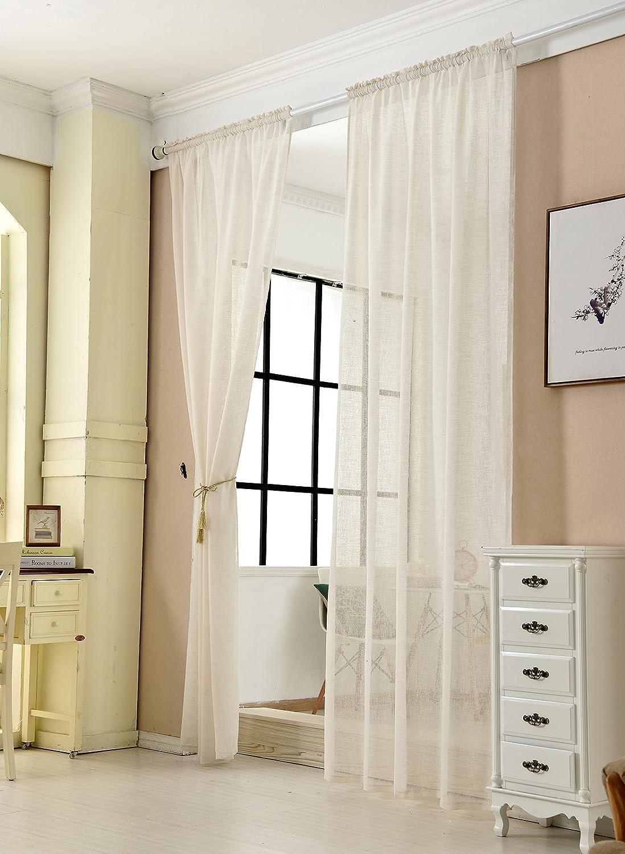 Vorhang Stores Voile Fensterschal Dekoschal f/ür Wohnzimmer Kinderzimmer Schlafzimmer Cr/ème, 1 St/ück 140x225 cm Gardinen transparent mit Kr/äuselband Leinen Optik WOLTU/® VH5860cm