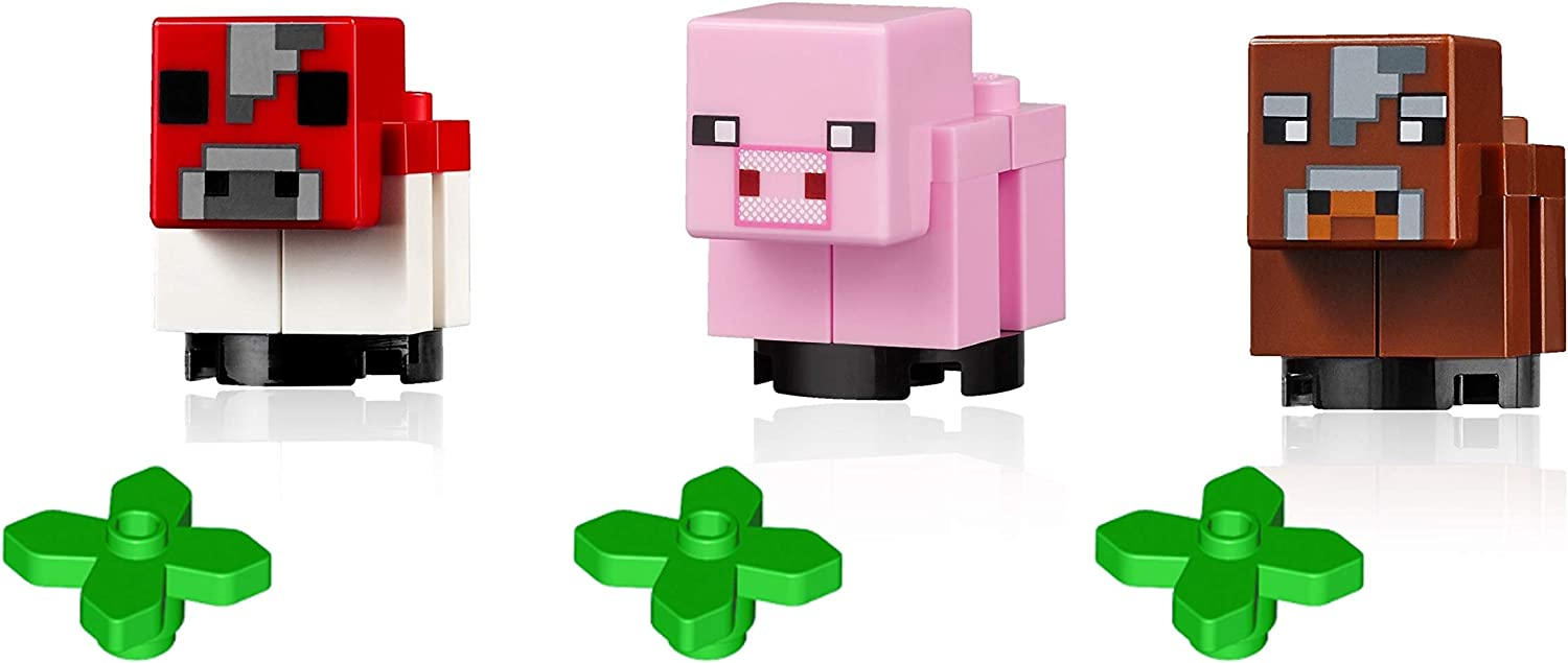 LEGO Minifigure Minecraft Animal Combo - Baby Cow, Baby Mooshroom Cow, and Baby Pig (with Minecraft Plants)