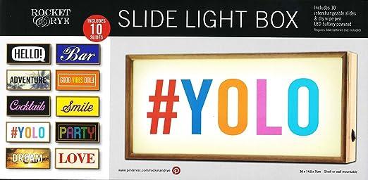 Rocket & Rye Slide - Mensaje LED de madera con caja de luz: Amazon.es: Hogar