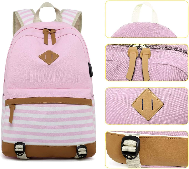 MUTANG Student Bag Shoulder Bag Canvas Backpack Fashion Printing Handbags Middle School Student Bag Striped Canvas Backpack with USB Charging Port