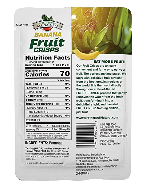 Brothers All Natural Fruit Crisps Banana 0 59 Oz Pack Of 24 Amazon Com Grocery Gourmet Food