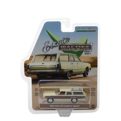 1985 Ford LTD Country Squire with Roof Rack Cream with Wood Paneling Estate Wagons Series 1 1/64 Diecast Model Car by Greenlight 29910 F: Toys & Games