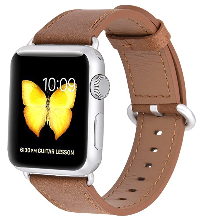 Jsgjmy Apple Watch Band 38mm Women Caramel Vintage Genuine Leather Replacement Iwatch Wrist Strap With Silver Metal Clasp For Apple Watch Series 3 2 1 Sport Edition by Jsgjmy