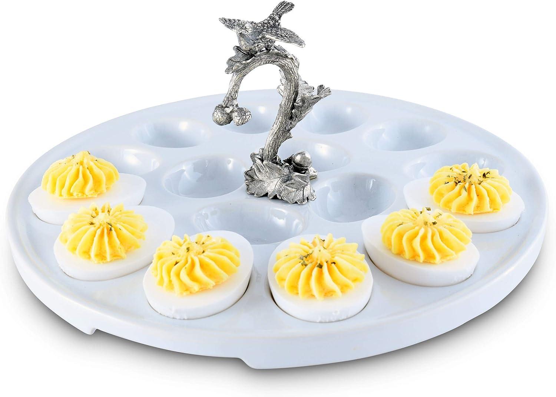 Vagabond House Stoneware Deviled Egg Holder//Server with Pewter Rabbit 12 Diameter
