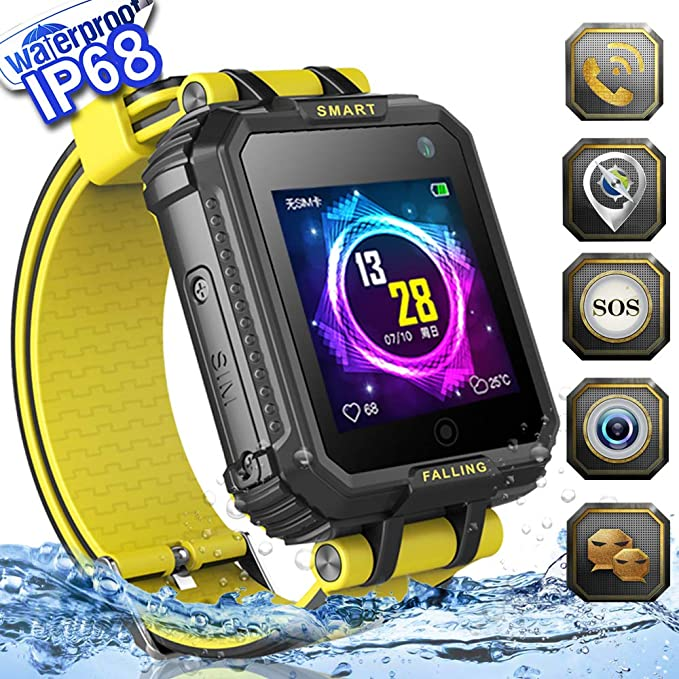 2019 Upgrades Waterproof Kids Smart Watch Phone GPS Tracker for Boys Girls Game Watch with HD Touch Screen SOS Camera Cell Phone Wrist Watch ...