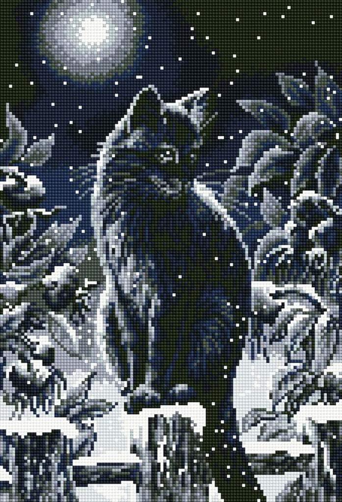 5D Diamond Painting Kits Full Round DIY Cross Stitch Pattern Rhinestone Embroidery Kits Arts Craft Supply Wall Sticker 16X21 Cat in Winter