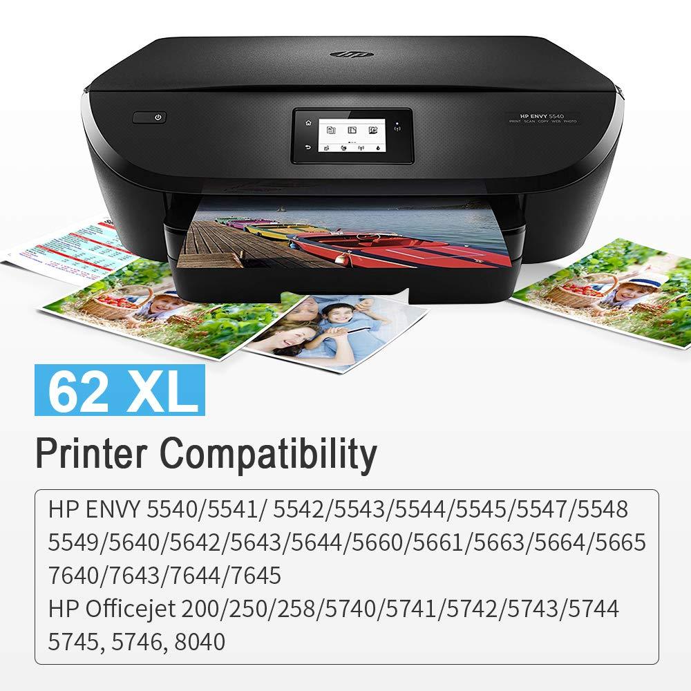 Gmoher Remanufacturado Cartucho de Tinta para HP 62XL 62 XL HP 62 Cartucho de Tinta C2P07AN Compatible con HP OfficeJet 5742 200 5744 HP Envy 5640 ...