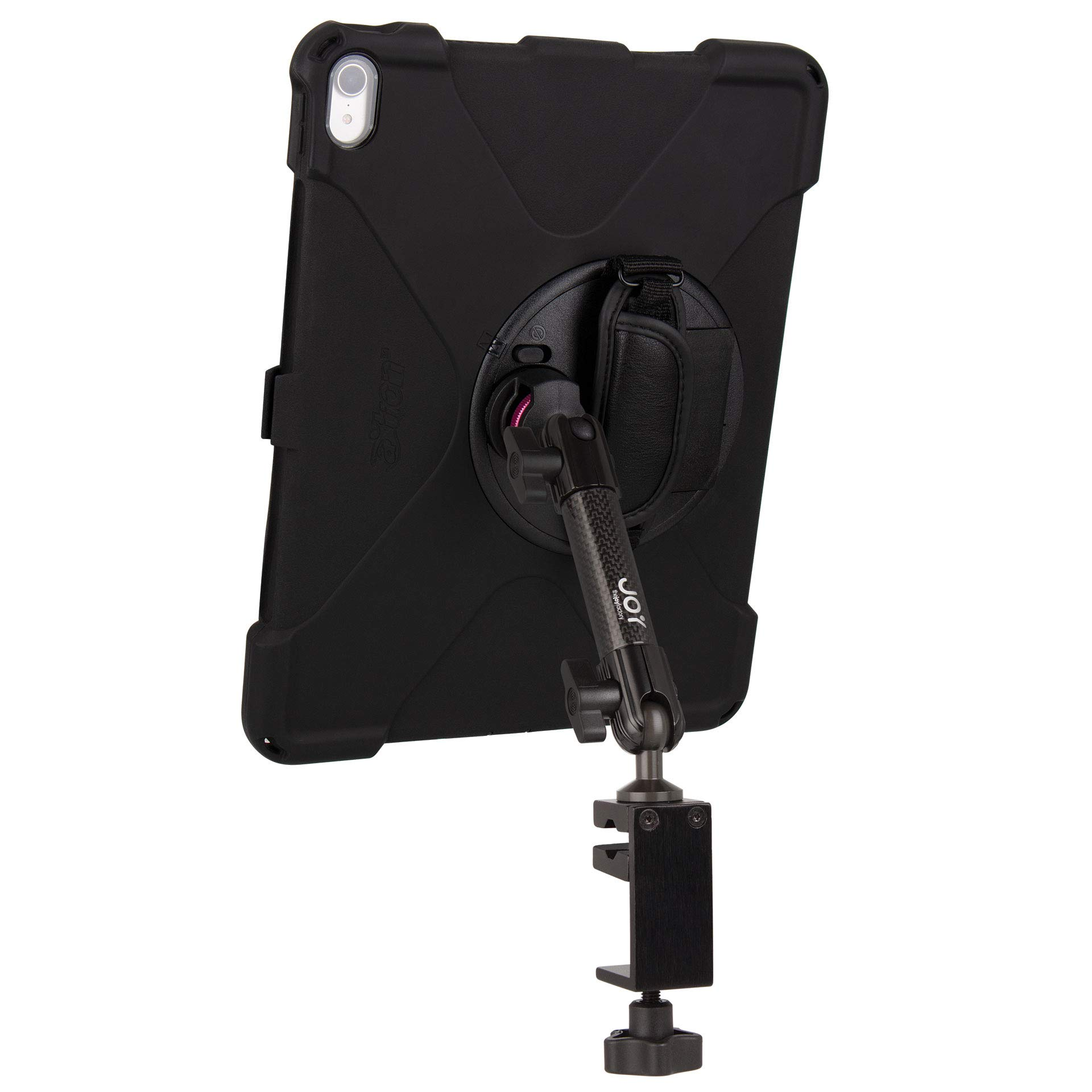 The Joy Factory MagConnect Carbon Fiber C-Clamp Mount w aXtion Bold MP Water-Resistant Rugged Shockproof Case for iPad Pro 12.9'' [3rd Gen], Built-in Screen Protector, Hand Strap, Kickstand (MWA4102MP)
