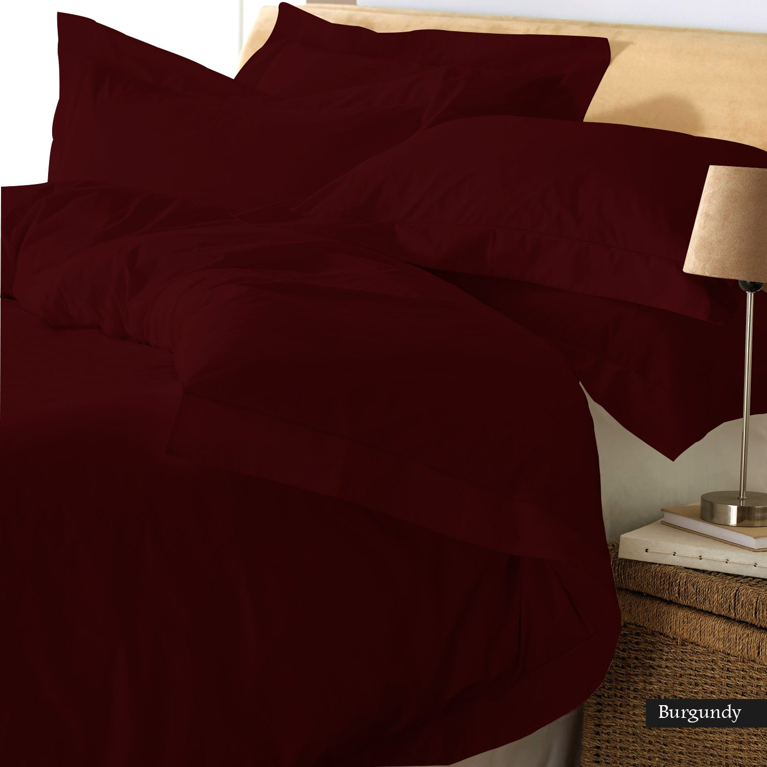 Linen Shoppe Luxurious! Ultra Soft Egyptian Cotton 800TC 4Pc( 1 Flat,1 Fitted(21''), 2 Pillowcase) Sheet Set with Premium quality 500GSM Comforter and 1Pc Elegant Duvet cover (Full, Burgundy)