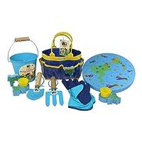Little Pals Childrens Gardening Kit Bag, Gloves, Bucket, Garden Tools, Kneeler Cushion, Pots Pot Holders, Blue