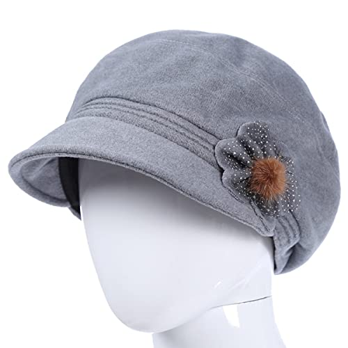 Fedora Bowler Signore Autunno E Inverno Cappello Da Mamma Mezza Età Decorazione Di Fiori Feltro Vintage Elegante Caldo Cappello,Gray-OneSize