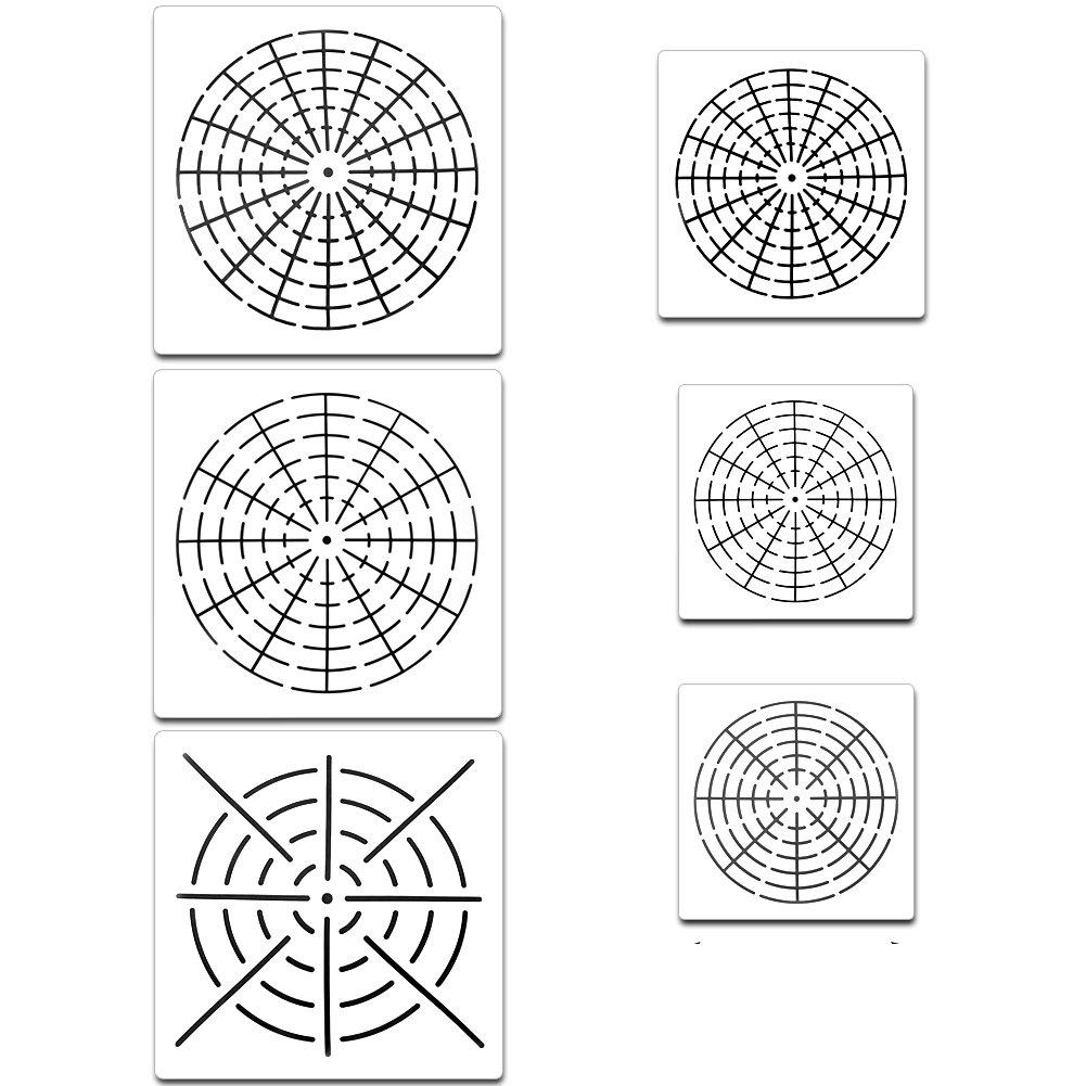 Lingjun 6 pz mandala punteggia stencil DOT painting Mylar stencil pittura 8/12/16 segmento