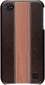 Trexta Wood and Leather Series Snap-On Case for iPhone 4 - 1 Pack - Retail Packaging - Cherry/Brown