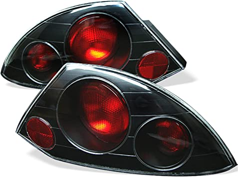 Mitsubishi 00-02 Eclipse Black Rear Tail Lights Brake Lamp Set GS GT Spyder