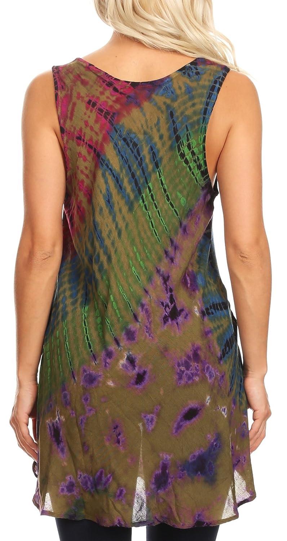 Sakkas Natalia dam sommar ärmlös batikfärg flare tank top tunik blus OLIV