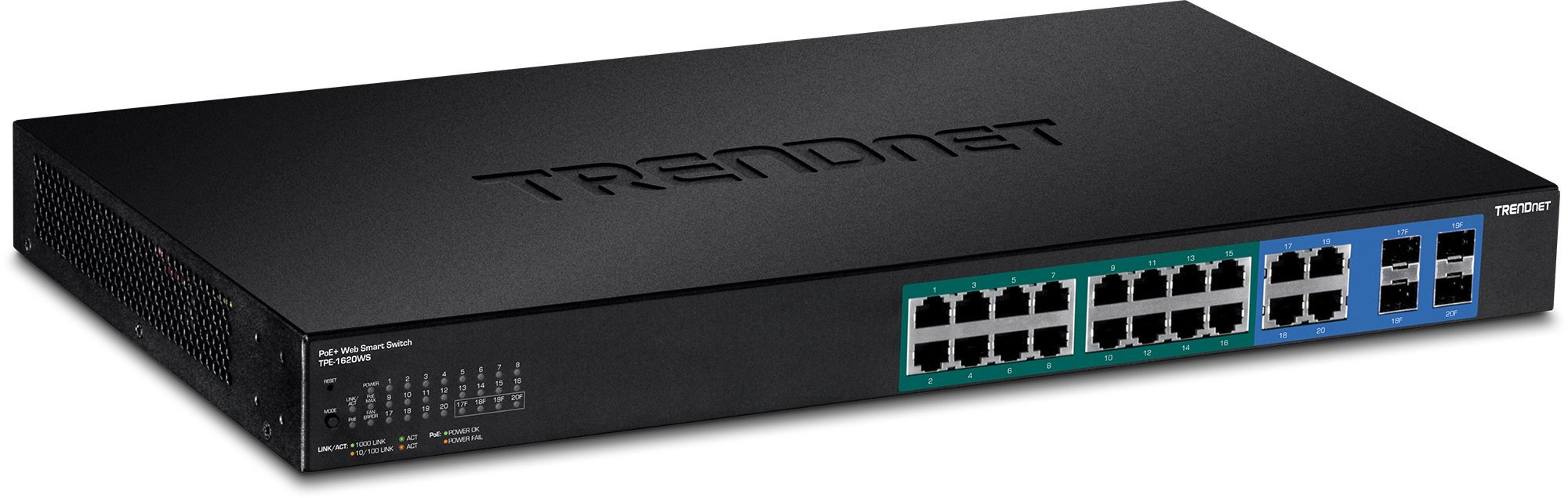 Trendnet 16-Port Gigabit Web Smart PoE+ Switch, 16 x Gigabit PoE+ Ports, 4 x Shared Gigabit Ports (RJ-45 or SFP), VLAN, QoS, LACP, IPv6 Support,185 W Power Budget, TPE-1620WS