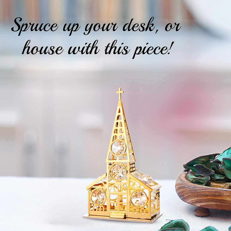 24K Gold Plated Crystal Studded Church Ornament by Matashi