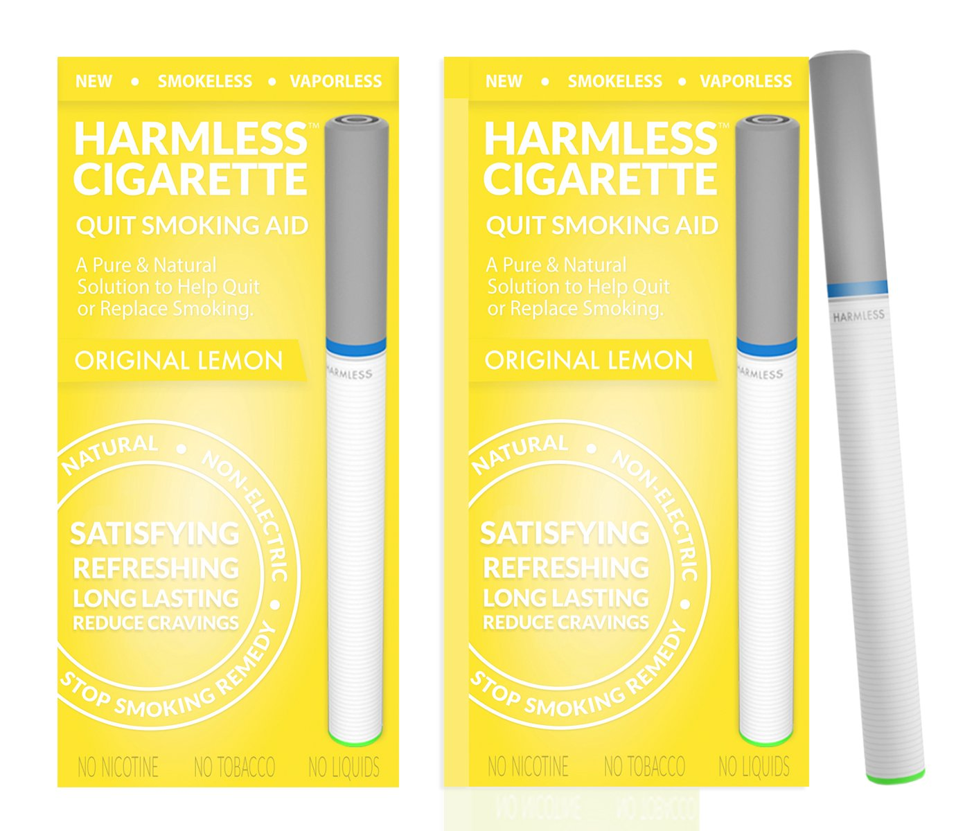 Natural Quit Smoking Aid/Satisfy Cravings & Reduce Cravings/Safe & Effective Habit Replacement/FREE Support Guide Included (2 Pack, Original Lemon)