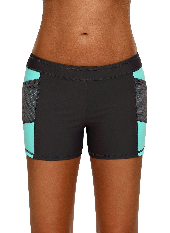 FIYOTE Women Waistband Swimsuit Bottom Boy Shorts Beach Swimwear XX-Large Size Green